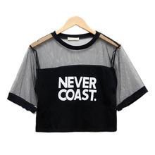 2015 New Sexy Women Girls Loose Crop Top T Shirt Crew Neck See through Gauze Tops
