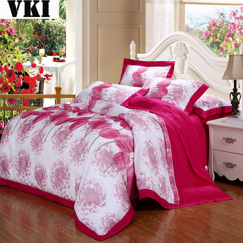 2016 Dropshipping floral cotton bedding sets quilt bag comforter 4pcs lot single beds sateen bed sheets(China (Mainland))