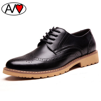 Brogue Style Genuine Leather Shoes Men 2016 Platform Oxford Shoes for Men Carved Business Flat Mens Shoes Leather
