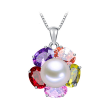 Promotion Item High quality 925 sterling silver pendant necklace 100% real freshwater pearl jewelry for women 3 colors 2016 (China (Mainland))