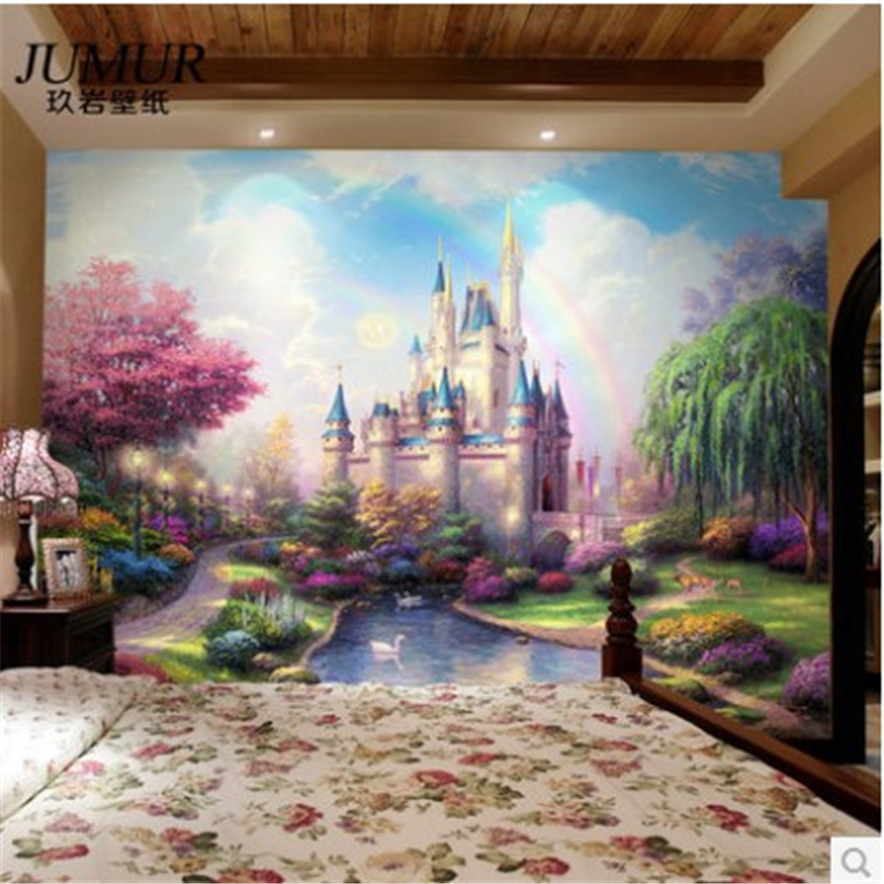 2015custom 3d mural continental bedroom living room tv for Castle mural wallpaper