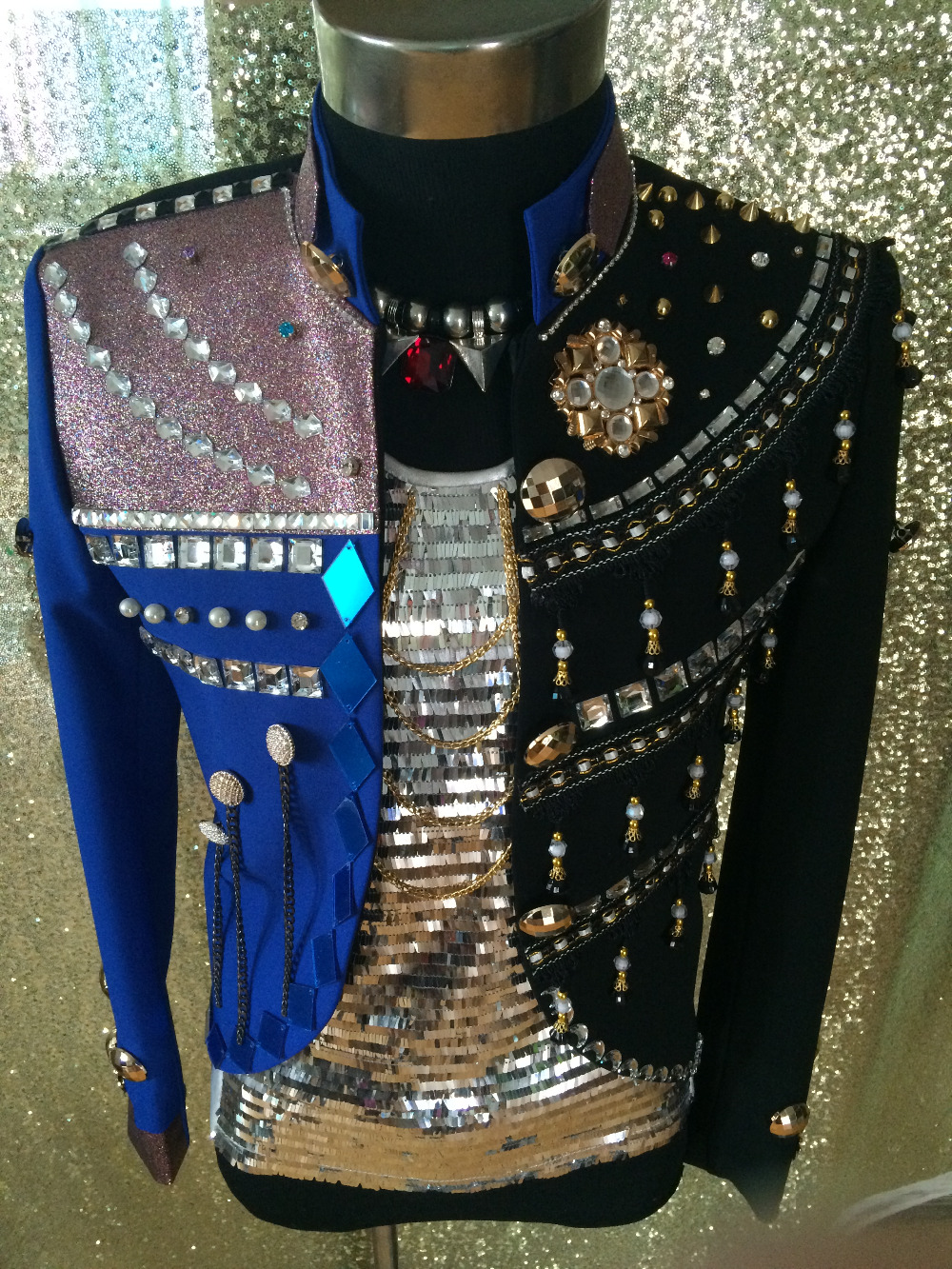 2015 New fashion quality Male singer rhinestone Crystal Performance Jacket Nightclub singer stage coat  show ds stage costumesОдежда и ак�е��уары<br><br><br>Aliexpress