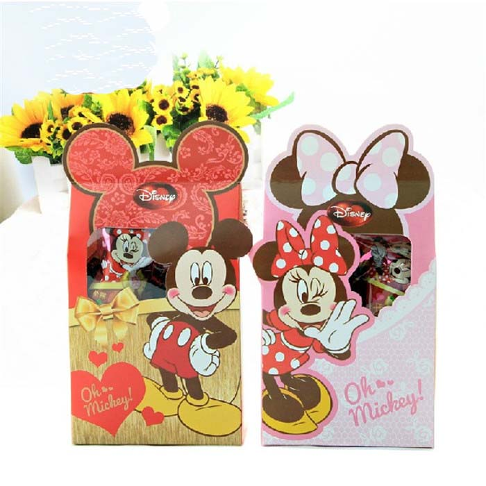 Free Shipping 10 X Minnie/Mickey Wedding Candy Box Children Birthday Gift Box Baby Shower Party Favor Box(China (Mainland))
