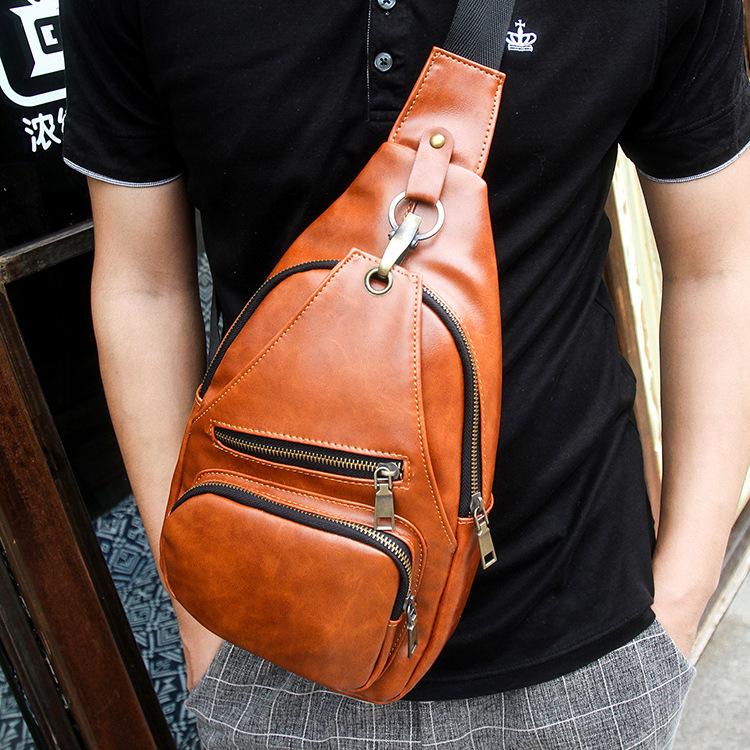2015 Fashion Mens Chest Bag,goat skin Shoulder bag, Black Yellow Brown Crossbody bag messenger bag Free Shipping(China (Mainland))