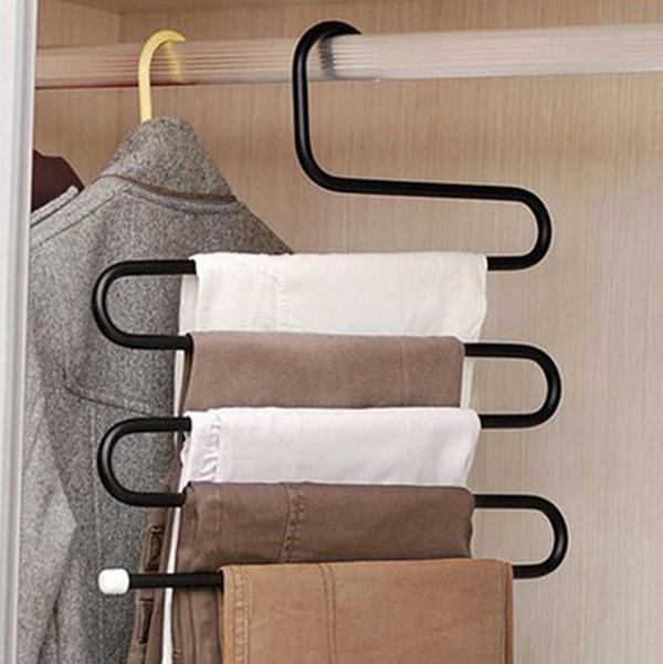 2pcs magic pants rack hanger Convenient 5 Layers scarf Tie Towels Belt Trousers Pants Closet Shelves Organizer Racks(China (Mainland))