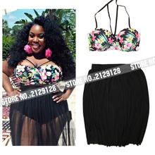 High Waisted Swimwear Women padded Plus Size xxxxl big yarn skirt black flower brazilian Split set top Bikinis Tanga 2016 women