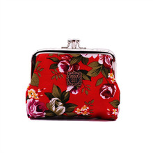 Hot On Sale Double Clips Canvas Wallets And Coin Purse For Women With Multi Floral Pattern 2016 Female Card Holder Mini Wallets