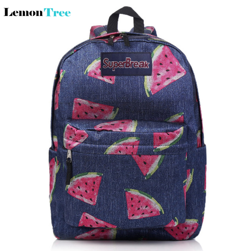 Harajuku Style Canvas Backpack Lovely Fruit Watermelon Printing Backpack Fresh Students Shoulder Bag School Bags For Teenagers(China (Mainland))