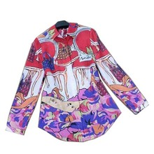 2015 New Us Style Fashion Luxury Colourful Printed Blouse & Full Sleeve Women Designer Shirts Plus Size XL(China (Mainland))