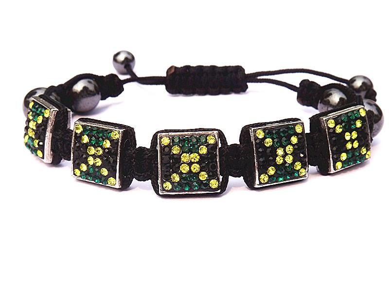 Fashion New Style Jamaican Jewelry Bracelets,Wholesale Top Quality Square Jamaica Flag Crystal Shamballa Bracelets,Discount Buy(China (Mainland))