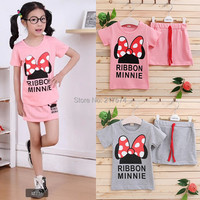 HOT Sale Children Girls Clothing Sets conjunto de roupa Mickey short-sleeved kids clothes sets for girls