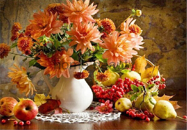 2015 DIY Frameless Pictures Paint By Numbers Digital Oil Painting On Canvas handwork gift set of flower and apple DO012(China (Mainland))