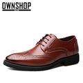 OWNSHOP Men Brogue Shoes Brown Mens Oxford Shoe Black Genuine Leather Shoes For Men Oxford Leather