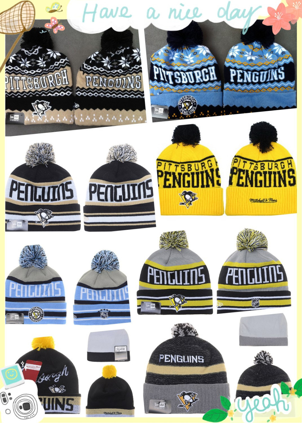 Free Shipping!Wholesale Sport Team pittsburgh penguins skullies cap ice hockey  Autumn Winter pom cuffed beanie hat 8 colors(China (Mainland))