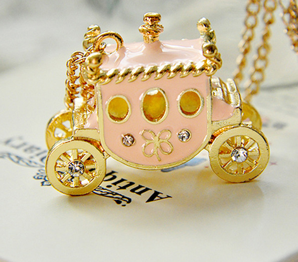 Free shipping 2014 new retro sweet pink pumpkin car necklace necklace car(China (Mainland))