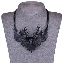 New Fashion Design Vintage  Style Necklace Delicate Hollow Out Black Color Rein Collar Deer Necklace For Christmas Gift(China (Mainland))