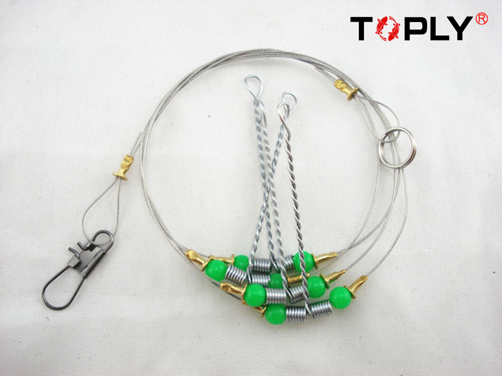 Free shipping Stainless Fishing Rigs wire leader trace Steel Fishing Line with Swivel Snap Red Beads Fishing Tackle Supplies(China (Mainland))