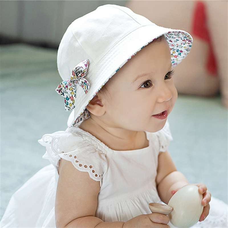 1 Pc Duplex Summer Baby Girl Hats Flower Print Cotton Sun Hat Bucket Kids Infant Floral Bowknot Double Sided Can Wear Caps Hot(China (Mainland))