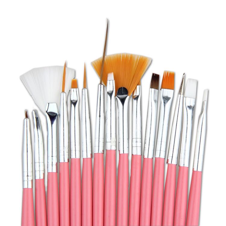 Sale! 15pcs/Set Art Pen Nail Brushes Professional Nail Design Tools Nail UV Pink Brushes Bundle Kit Set Nail Brush E-Muse(China (Mainland))