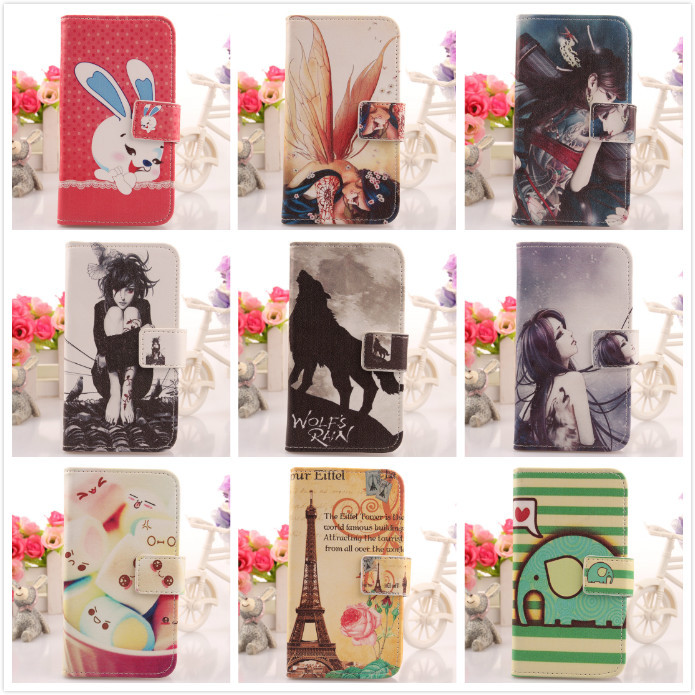 Stylish-pop Painting Design PU Flip Leather Cell Phone Cover Protective Accessory Skin Case For ZOPO C3(China (Mainland))