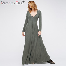 Buy VARBOO_ELSA spring summer women Casual long sleeve maxi Dress red V-neck cotton long dress gray Simple Knit button party dresses for $17.43 in AliExpress store