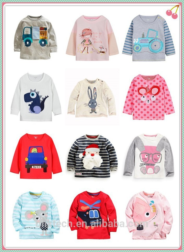 DHL free wholesale cheap european style boys and girls cartoon children t shirts long sleeve kids t shirt with 100% cotton(China (Mainland))