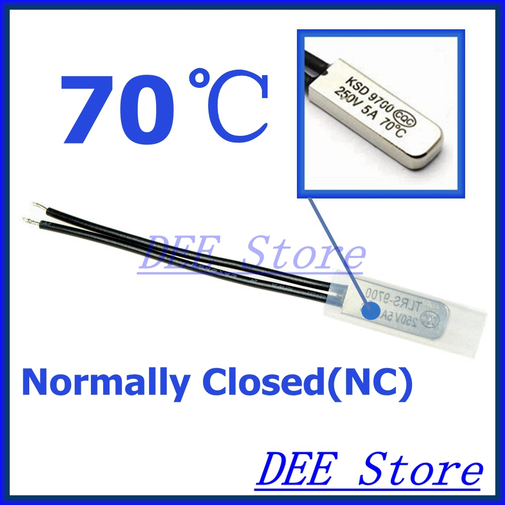 5Pcs/lot 70C Degree Celsius NC Normal Close Thermostat Thermal Protector Thermostat temperature control switch 250V 5A KSD9700(China (Mainland))