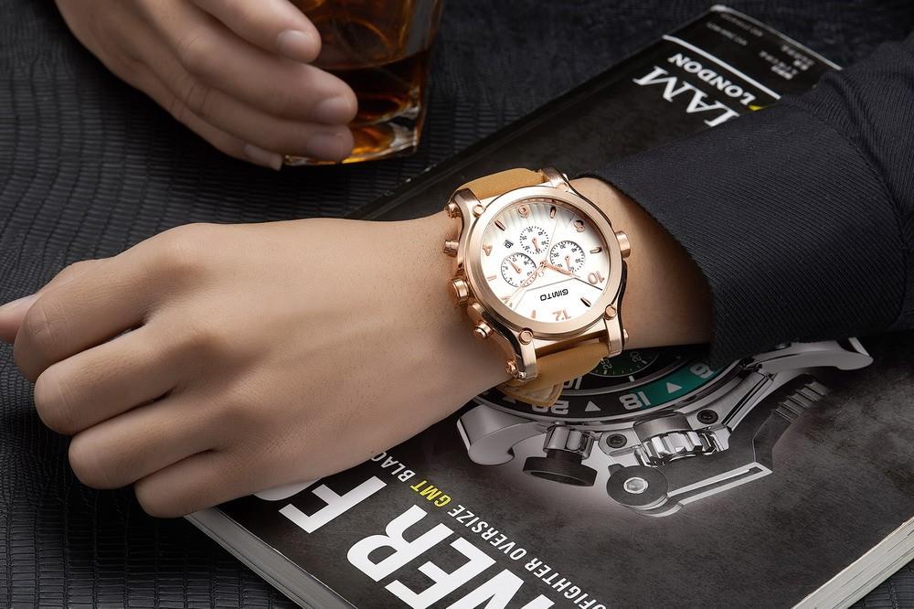 2016Top Бренд GIMTO Спортивные Часы Мужчины Кожаный Ремешок Carlendar Военной Мужские Часы Аналоговые Кварцевые Часы Часы Reloj Hombre Relógio