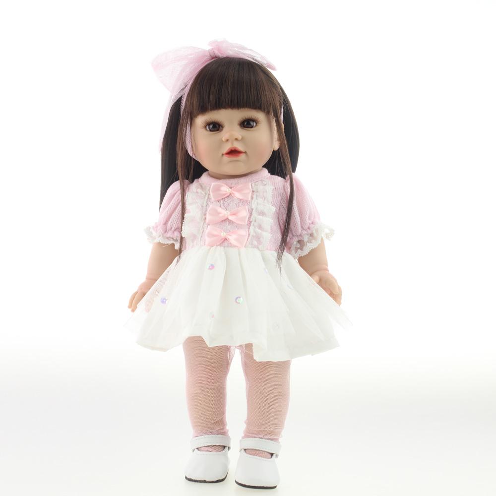 18 45CM Sweet Girl Doll Reborn Baby Dolls Full Handmade Yellow Hair Full Vinyl Baby Toys Best Girls Gift DIY Bjd Sex Doll<br>