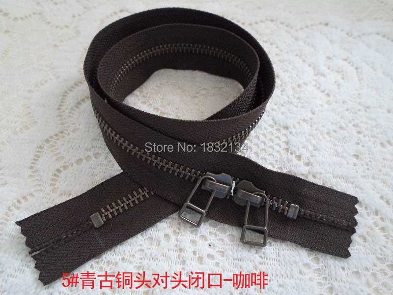 5# zinc alloy zipper leather mouths coffee 30-100cm YKK5# green bronze silent headon luggage zipper(China (Mainland))