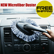 Free shipping Multi-purpose Microfiber Car Duster Cleaning Dirt Dust Auto Clean Brush Dusting Tool Mop Gray 1 Piece(China (Mainland))