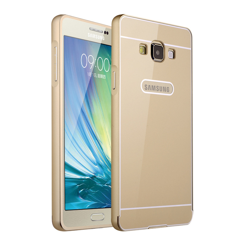 Ultra thin Aluminum Metal+ Acrylic Glass Back Cover Case for Samsung Galaxy E5(China (Mainland))