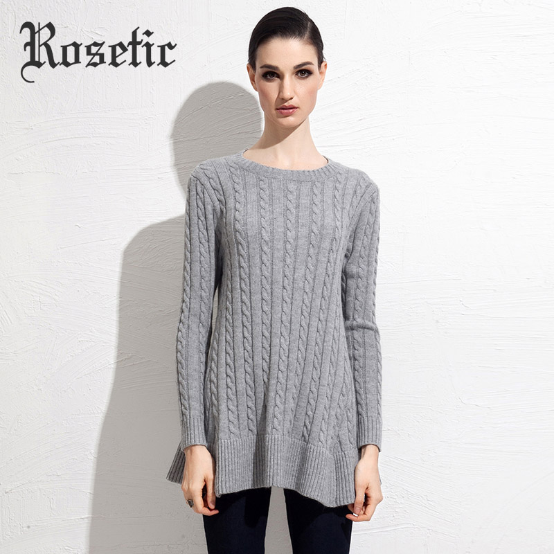 Rosetic Women's Cotton Blends Pullover Plain Sweater Spring Black Gary Fall Winter Women Casual Fashion Plain Pullover Sweater(China (Mainland))