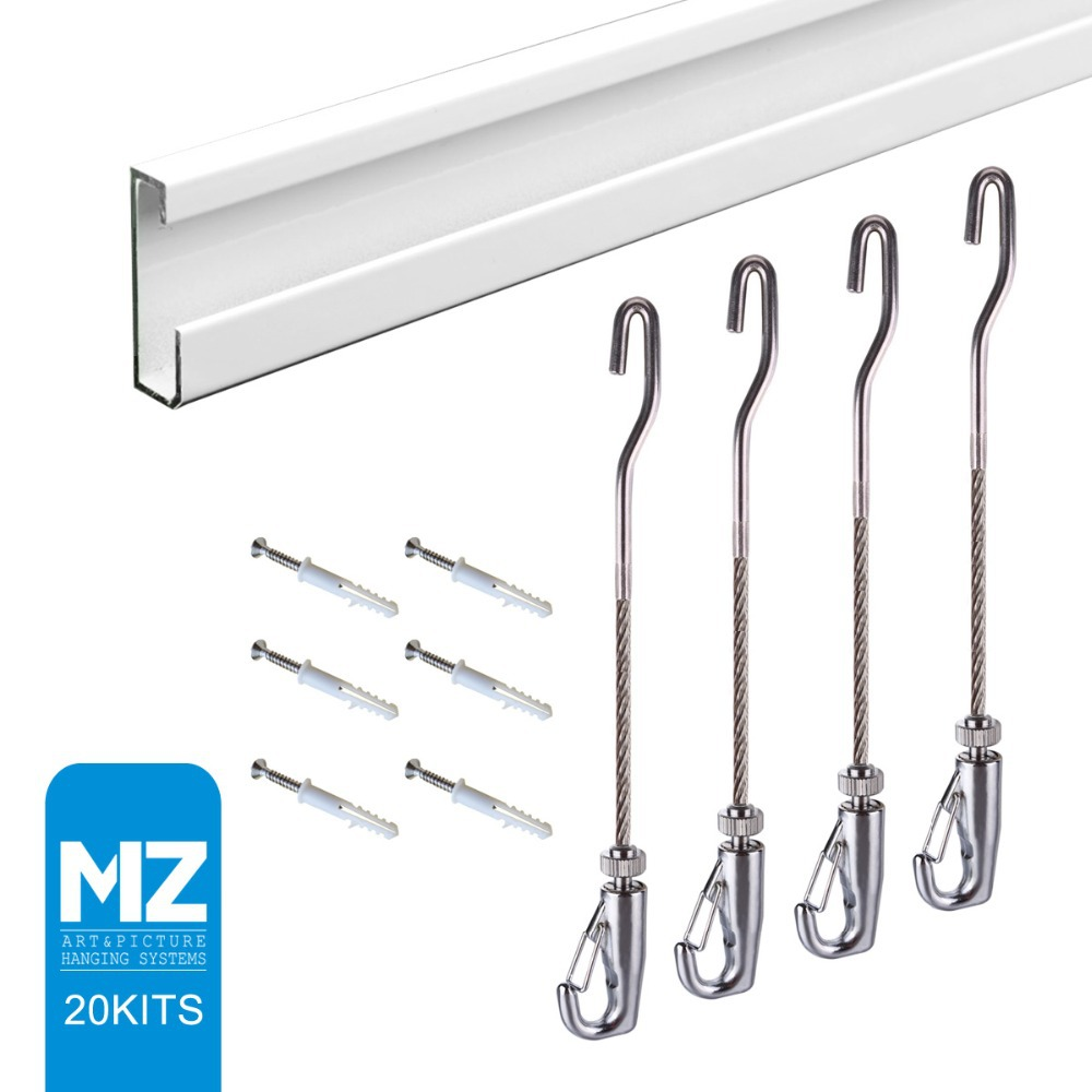 Free shipping MZ picture hanging system gallery picture rail J-hook cable,self-gripping hook ,hanging picture,art hanging(China (Mainland))