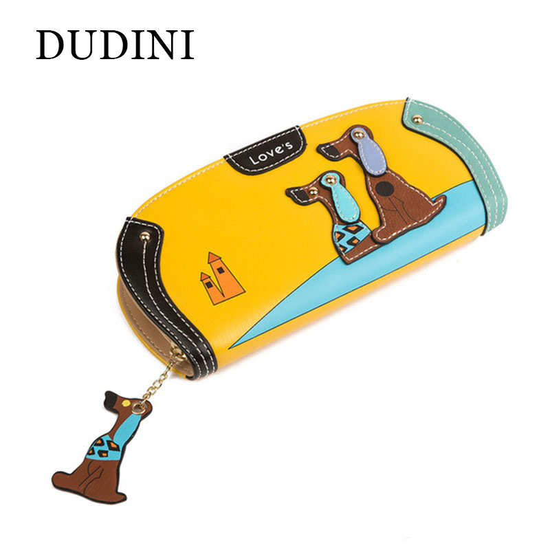 New Arrive Fashion Cute Puppy Zipper Long Wallet Cartoon Dog 6 Colors PU Leather Women Wallets Ladies Clutch Card Holder(China (Mainland))