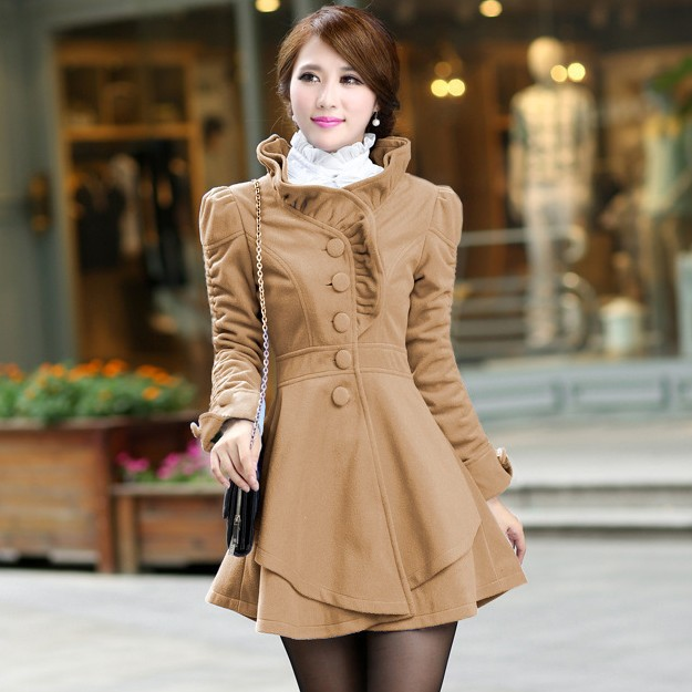 Free shipping 2014 Hot sale Long sleeve Fashion Cute Women All-match woollen Overcoat Thin and Thick warm Coat Cheap wholesale(China (Mainland))