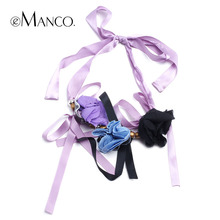 eManco handmade art purple ribbon necklaces for women flowers adjustable acrylic trendy chokers necklaces personalized jewelry(China (Mainland))