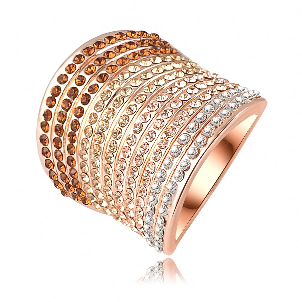 Christmas Gradient Austrian Crystal Engagement Rings/Promise Ring 18K Rose Gold Plated Charm Jewelry Ring Ri-HQ0040(China (Mainland))