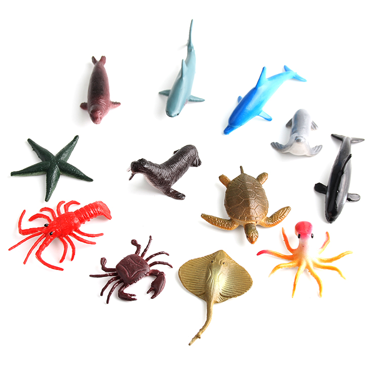 12pcs/lot 5-7cm Natural World Marine life Turtle Dolphin Starfish acton figure set best kids toys(China (Mainland))