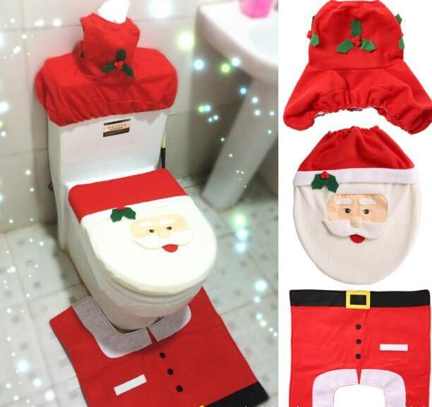 Het hete verkopen mooie santa toilet seat cover en tapijt badkamer set contour tapijt kerst - Originele toiletdecoratie ...