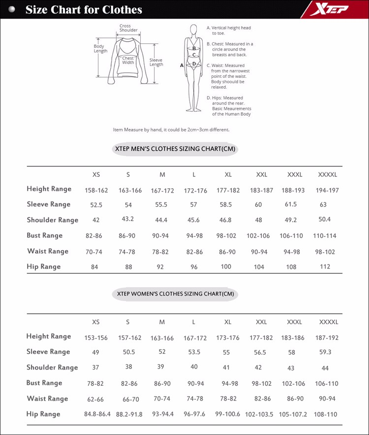 Size Chart for Clothes(2015Q2)