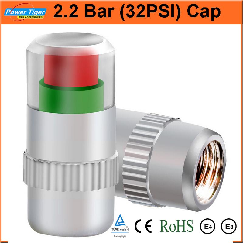 Universal Visiable 4PCS/SET 32 Psi 2.2 Bar Air Warning Alert Tire Valve Pressure Sensor Monitor Light Cap Indicator For Cars(China (Mainland))