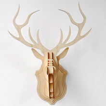 Wooden Veneer Shape Vintage Wood Birdcage Embellishment Craft Products Wooden deer Head DIY fornasetti WF106(China (Mainland))