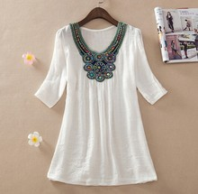 2015 Summer New Women Floral Embroidery Plus Size XXXL Loose Blouse Shirts 7 Candy Colors Chiffon Casual Shirt Tops (China (Mainland))
