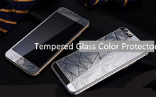 New 3D Rhombic Electroplated Phone Tempered Glass Front and Back 2 Sides Full Cover Screen Protector for iphone 6 6S 6plus