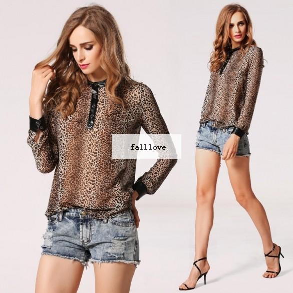 Женщины леопардовый принт шифон блузы свободного покроя леопардовый блузка рубашка полный рукав blusas женщина печать блузка 51