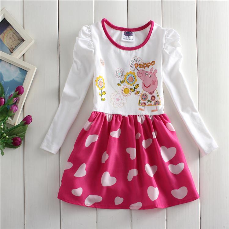 Wholesale F6082 # heart girl pepe pig 2014 new lovely princess chiffon printing 5 PCS/many girls in the summer(China (Mainland))