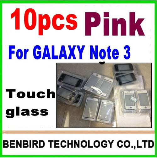 10 pcs only pink color for samsung galaxy note 3 n9000  wholesale  front glass touch lens digitizer screen glass YL5122-