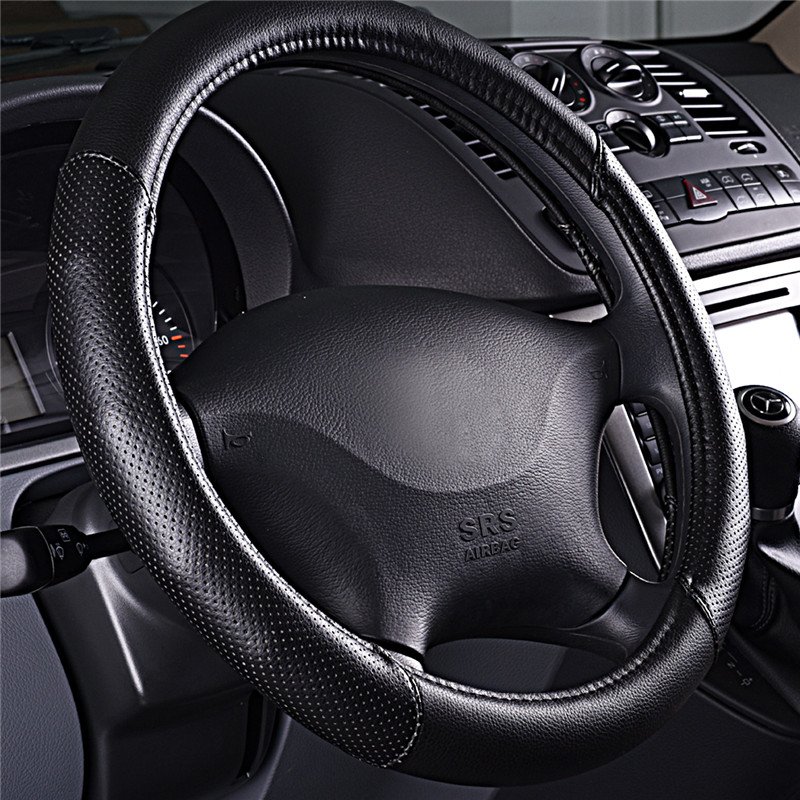 1PC Brand Car-pass 38cm Car Steering Wheel Cover Extremely soft Leather braid on the steering-wheel of Car Interior accessories(China (Mainland))