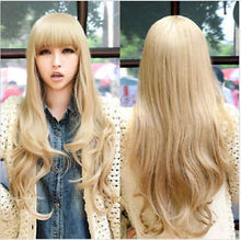 Hot Fashion Women's Hair Cosplay Party Wigs Blonde Long Curly Bangs Full Wig Ladies Heat Re sistant Synthetic hair - meiyan gan's store
